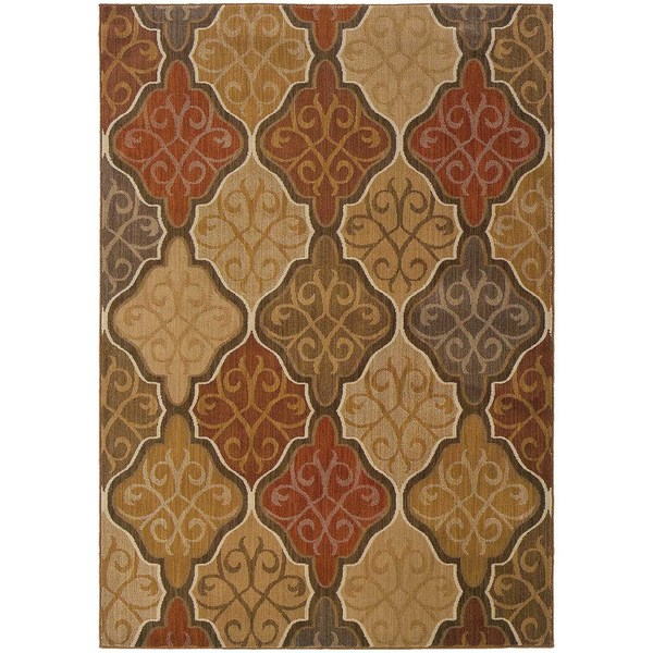 Orange/ Gold Area Rug - 7'8 x 10'10