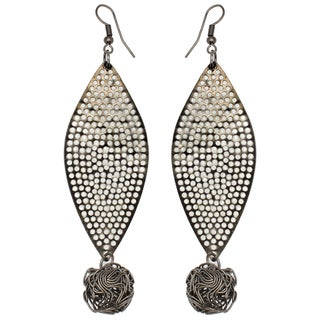 Kate Marie Black-plated Rhinestone Leaf Design Earrings