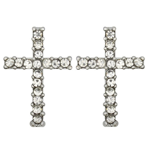 Kate Marie Silvertone Rhinestone Cross Earrings