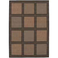 Recife Summit Cocoa-Black Indoor/Outdoor Rug - 7'6 x 10'9