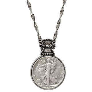 American Coin Treasures Silvertone Year To Remember Victorian-style Half Dollar Coin Necklace|https://ak1.ostkcdn.com/images/products/7716196/7716196/American-Coin-Treasures-Silvertone-Year-To-Remember-Victorian-style-Half-Dollar-Coin-Necklace-P15120701.jpg?impolicy=medium