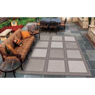 "Pergola Checkers Grey-White Indoor/Outdoor Area Rug - 3'9"" x 5'5"""