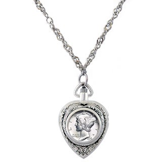 American Coin Treasures Silvertone Year To Remember Dime Coin Heart Watch Necklace