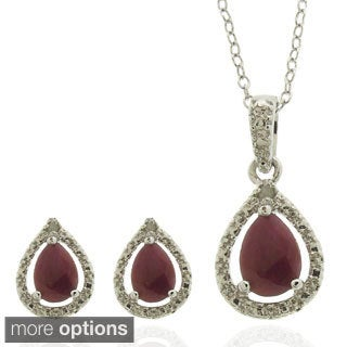 Dolce Giavonna Sterling Silver Gemstone and Diamond Accent Teardrop Jewelry Set (2 options available)