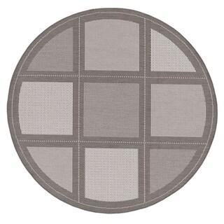 Couristan Recife Summit Grey-White Indoor/Outdoor Round Rug - 7'6 x 7'6