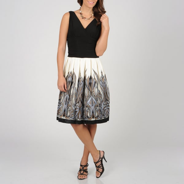 S.L. Fashions Women's Ivory/ Black Tonal Dress