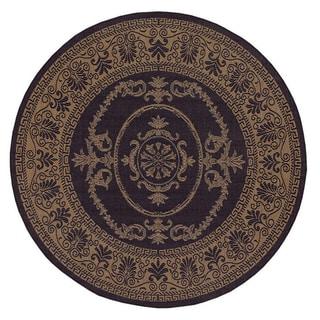 Recife Antique Medallion Black-Cocoa Indoor/Outdoor Round Rug - 7'6 x 7'6