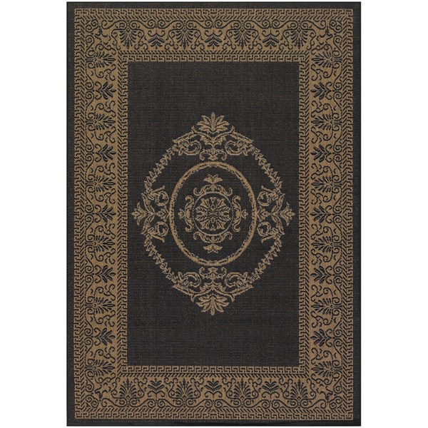 Recife Antique Medallion/ Black Cocoa Rug (7'6 x 10'9)