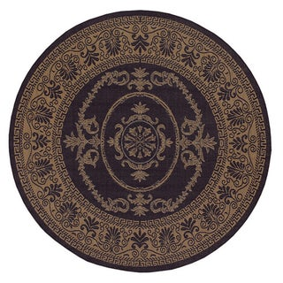 Recife Antique Medallion/ Black Cocoa Round Rug (8'6)