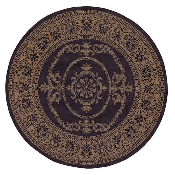 Shop Pergola Royal Hallmark Black Cocoa Indoor Outdoor Round Rug