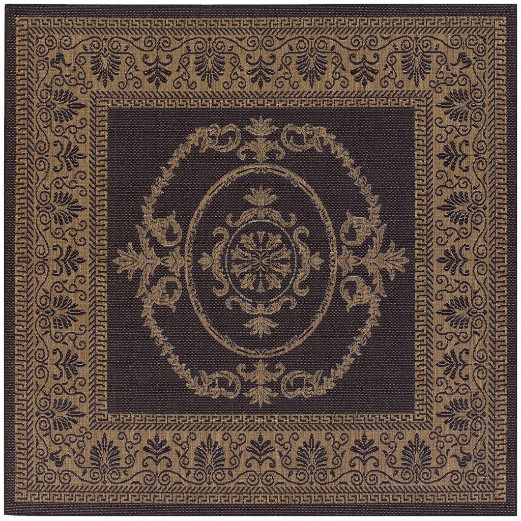 Pergola Royal Hallmark Black-Cocoa Indoor/Outdoor Square Rug - 86 Square (Black/Cocoa - 86 Square)