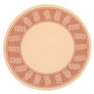 Recife Tropics/ Natural Terra-Cotta Area Rug (7'6 Round)