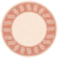 "Recife Tropics/ Natural Terra-Cotta Indoor/Outdoor Round Area Rug - 8'6"" x 8'6"""