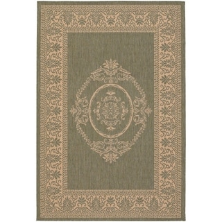 Couristan Recife Antique Medallion/Green-Natural Indoor/Outdoor Rug - 2' x 3'7