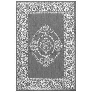 Power-Loomed Pergola Emblem Grey/White Polypropylene Rug (8'6 x 13')