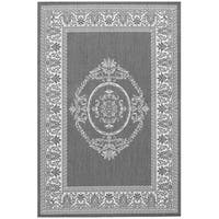 Pergola Emblem Grey/White Indoor/Outdoor Area Rug - 8'6 x 13'