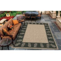 Pergola Welcome Home/ Cocoa-Black Indoor/Outdoor Rug - 5'3 x 7'6