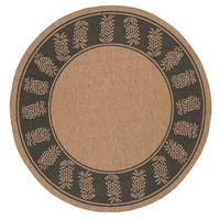 Pergola Welcome Home/ Cocoa-Black Indoor/Outdoor Round Rug - 7'6 x 7'6