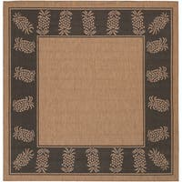 Pergola Welcome Home/ Cocoa-Black Indoor/Outdoor Square Rug - 7'6 x 7'6