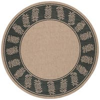 "Pergola Welcome Home Cocoa-Black Indoor/Outdoor Round Rug - 8'6"" Round"