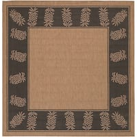 Pergola Welcome Home/ Cocoa-Black Indoor/Outdoor Square Rug - 8'6 x 8'6