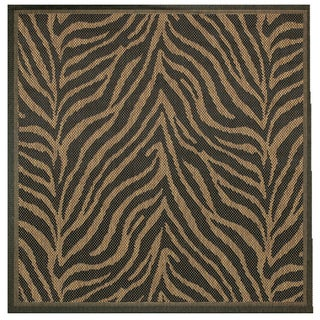 Power-Loomed Pergola Cape Black/Cocoa Polypropylene Rug (7'6 Square)