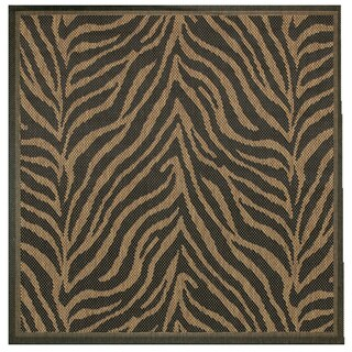 Pergola Cape Black-Cocoa Indoor/Outdoor Square Area Rug - 7'6 x 7'6
