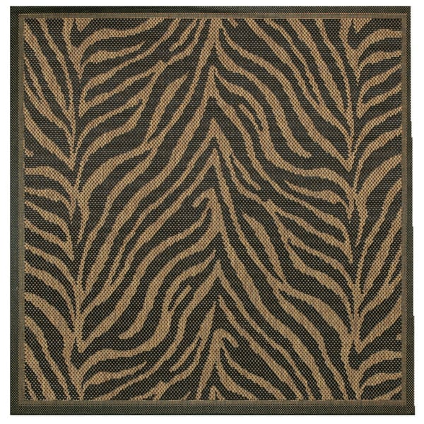 "Pergola Cape Black-Cocoa Indoor/Outdoor Square Area Rug - 7'6"" Square"