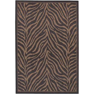 Couristan Recife Zebra/ Black and Cocoa Area Rug (2' x 3'7)
