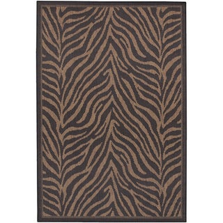 Couristan Recife Zebra/ Black and Cocoa Area Rug (2' x 3'7)