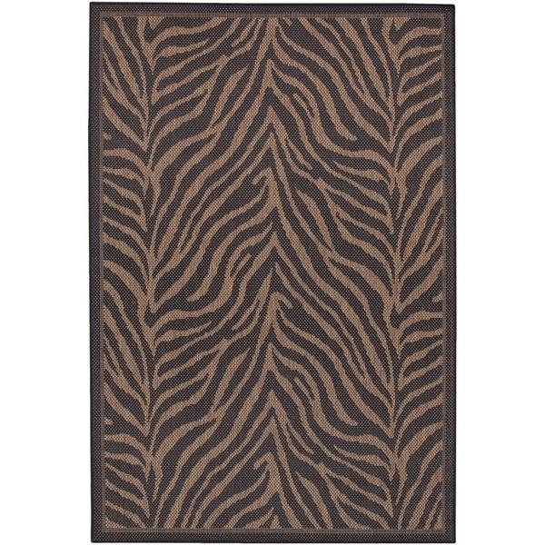 Couristan Recife Zebra/Black-Cocoa Indoor/Outdoor Area Rug - 2' x 3'7