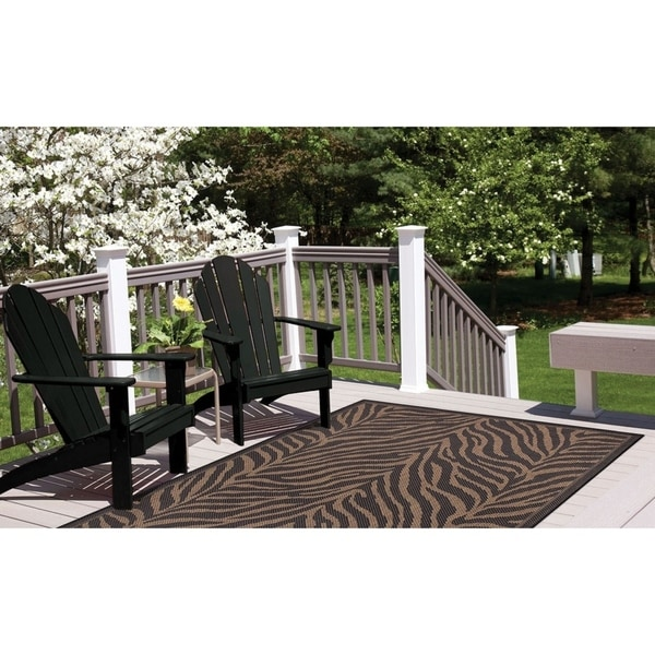 Shop Couristan Recife Zebra Black-Cocoa Indoor/Outdoor