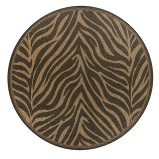 "Pergola Cape Black-Cocoa Indoor/Outdoor Round Area Rug - 7'6"" Round"