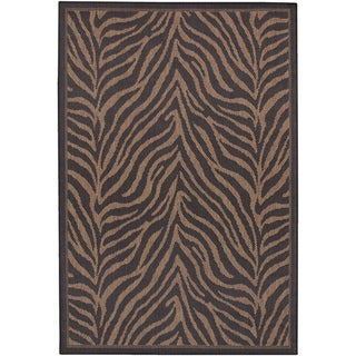 Power-Loomed Pergola Cape Black/Cocoa Polypropylene Rug (7'6 x 10'9)