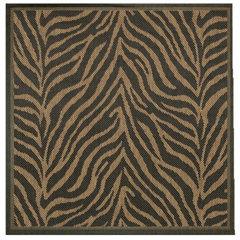 "Pergola Cape Black-Cocoa Indoor/Outdoor Square Area Rug - 8'6"" Square"