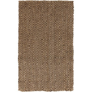 Hand-Woven Diamond Jute Coffee Bean Natural Fiber Rug (8' x 11')