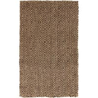 Hand-Woven Diamond Jute Coffee Bean Natural Fiber Area Rug - 3'3 x 5'3