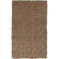 Hand-Woven Diamond Jute Coffee Bean Natural Fiber Area Rug (3'3 x 5'3)
