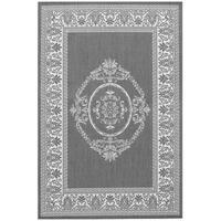 Pergola Emblem Grey-White Indoor/Outdoor Area Rug - 7'6 x 10'9