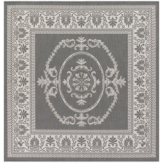Power-Loomed Pergola Emblem Grey/White Polypropylene Rug (8'6 Square)