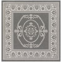 Pergola Emblem Grey/White Square Outdoor Area Rug - 8'6 x 8'6