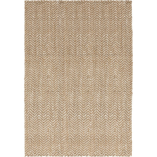 Hand-Woven Wheat Jute Tan Natural Fiber Chevron Area Rug (8' x 11')