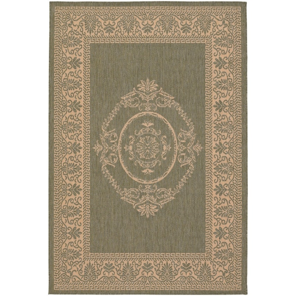 Recife Antique Medallion Green Natural Indoor/Outdoor Rug - 8'6 x 13'