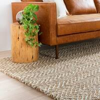 Hand-Woven Wheat Jute Tan Natural Fiber Chevron Area Rug - 2' x 3'