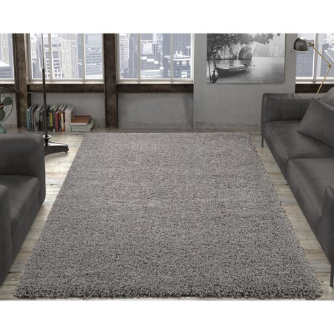 Ottomanson Soft Cozy Solid Color Contemporary Soft Shag Area Rug (5' x 7') - 5' x 7'