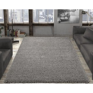 Ottomanson Soft Cozy Solid Color Contemporary Soft Shag Area Rug (5' x 7')