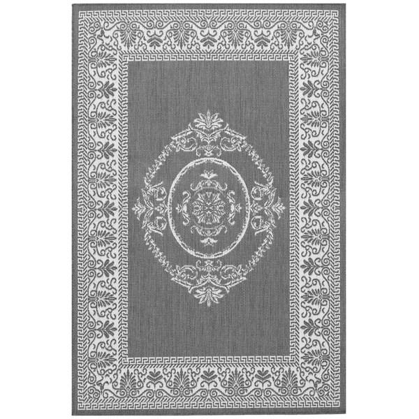 Power-Loomed Pergola Emblem Grey/White Polypropylene Rug (3'9 x 5'5)