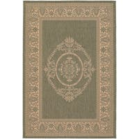 Recife Antique Medallion Green Natural Indoor/Outdoor Rug - 7'6 x 10'9