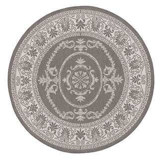 Power-Loomed Pergola Emblem Grey/White Polypropylene Rug (8'6 Round)