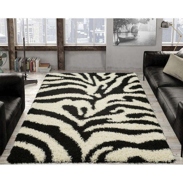 Ottomanson Soft Shag Black and White Zebra Print Area Rug - 5' x 7'